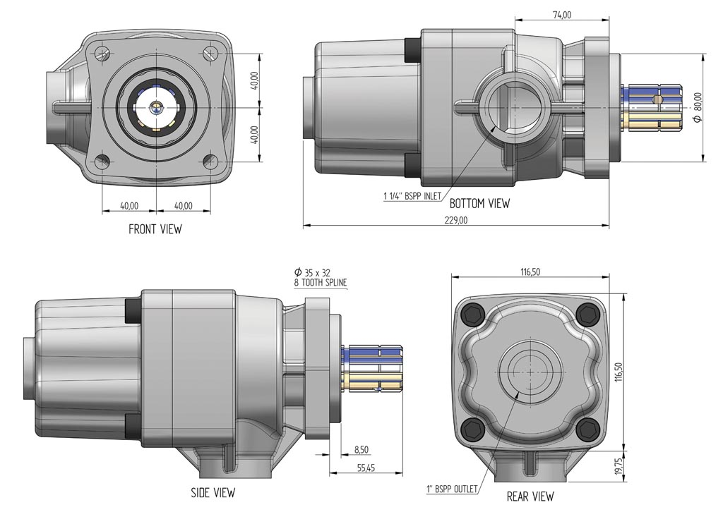 GPM 3D Drawing of a Gear Pump-6