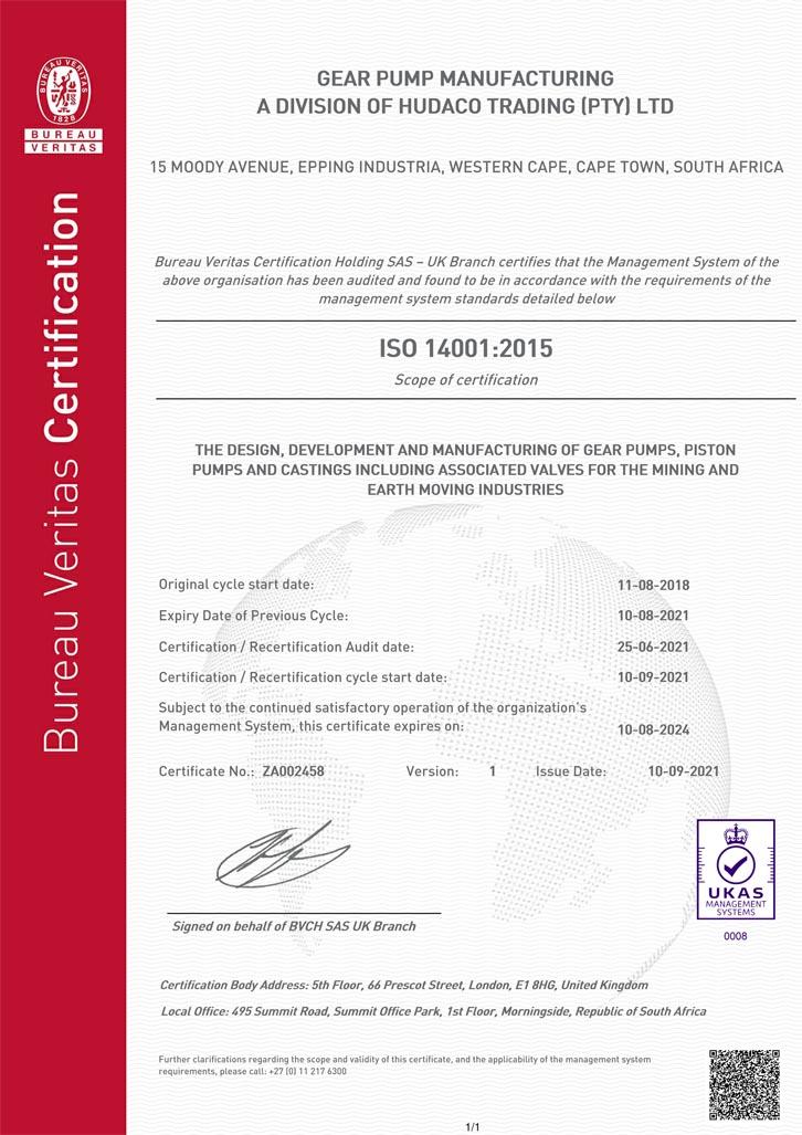 Gear Pump Manufacturing ISO 14001:2015 Certificate