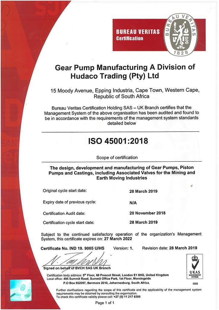 Gear Pump Manufacturing ISO 45001:2018 Certificate